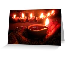 """ Divine diyas on Diwali ""  Greeting Card"