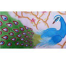 Peacock. Original silk painting. Nature. Flora. Photographic Print