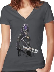 She has a shotgun Women's Fitted V-Neck T-Shirt