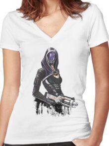 She has a shotgun Women's Fitted V-Neck T-Shirt