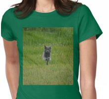 Bounding Grey Farm Cat Returns Home Womens Fitted T-Shirt