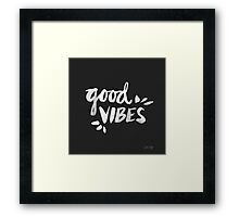 Good Vibes – White Ink Framed Print