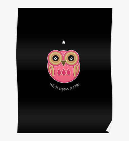 Wish Upon A Star - Pink Owl Poster