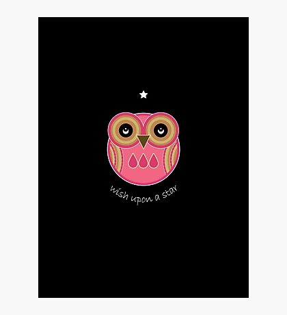 Wish Upon A Star - Pink Owl Photographic Print