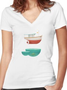 Floating Boat Women's Fitted V-Neck T-Shirt