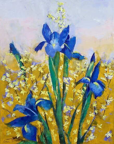 Iris and Forsythia by Michael Creese