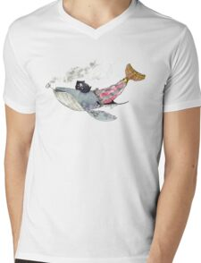 Pirate Whale Mens V-Neck T-Shirt