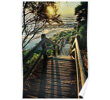 beach steps. shack bay bunurong marine park Poster
