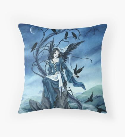 Throne of Ravens, Dark Angel, fantasy art by Meredith Dillman Throw Pillow