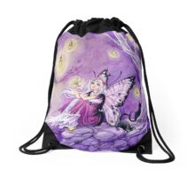 Chasing Butterflies gothic butterfly fairy art tote Drawstring Bag