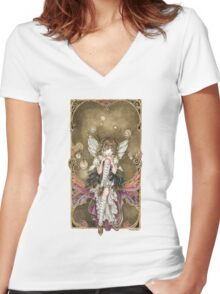 Gears and Glass Steampunk Fairy Women's Fitted V-Neck T-Shirt