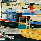 Boats For Hire, Sanctuary Cove Marina, Gold Coast Australia by Cathy Gilday
