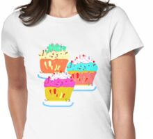 THREE MUFFINS T SHIRT/STICKER Womens Fitted T-Shirt