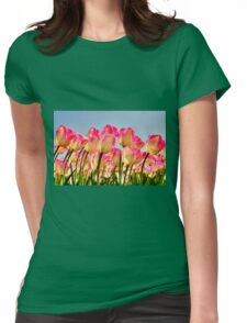 Pink Tulips Bow For The Sun Womens Fitted T-Shirt