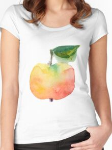 fresh useful eco-friendly apple vector illustration Women's Fitted Scoop T-Shirt