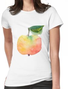 fresh useful eco-friendly apple vector illustration Womens Fitted T-Shirt