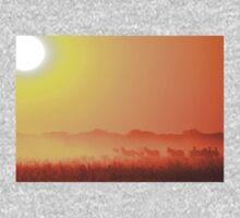 Zebra Sunset - African Wildlife Background - Golden Harmony One Piece - Long Sleeve