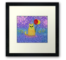 FIREFLIES AND HAPPY CAT Framed Print