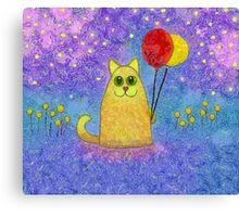 FIREFLIES AND HAPPY CAT Canvas Print