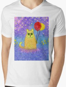 FIREFLIES AND HAPPY CAT Mens V-Neck T-Shirt