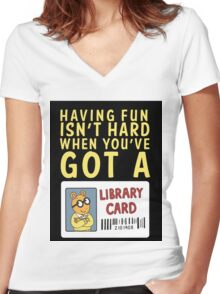 Arthur Library Card Women's Fitted V-Neck T-Shirt