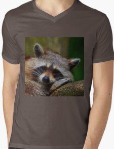 Raccoon Face Mens V-Neck T-Shirt