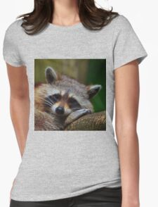 Raccoon Face Womens Fitted T-Shirt