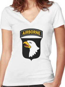 101st Airborne Division (US Army) Women's Fitted V-Neck T-Shirt