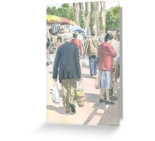 Wednesday morning at Piégut market, France Greeting Card
