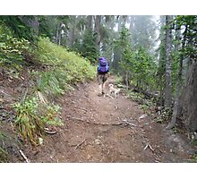 backpacker with dog Photographic Print