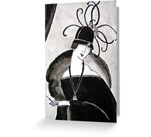 """""""*Ritzy"""" Roaring Twenties Lady with cloche Greeting Card"""