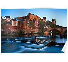 Spring Dusk In Durham City, UK - The Riverside. Poster