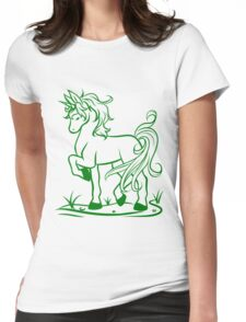 Minimal Unicorn Green Womens Fitted T-Shirt