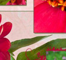 Zinnias Four Photo Collage  Sticker