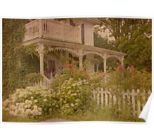 House with the white picket fence Poster