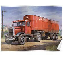 Scammell van United Dairies. Poster