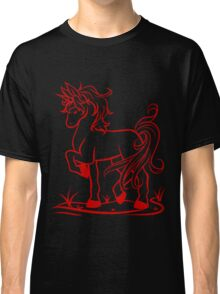 Minimal Unicorn Red Classic T-Shirt