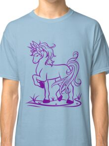 Minimal Unicorn Purple Classic T-Shirt