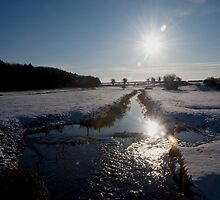 Sunset and snow, Warham, Norfolk, UK. by alanfat