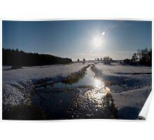 Sunset and snow, Warham, Norfolk, UK. Poster