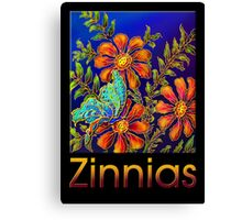 Poster, 'Zinnias by Yard Light' A Summertime Floral Fantasy Canvas Print