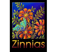 Poster, 'Zinnias by Yard Light' A Summertime Floral Fantasy Photographic Print