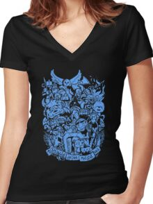 Old Friends (blue) Women's Fitted V-Neck T-Shirt