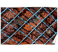 Vintage net background of rusty iron net Poster