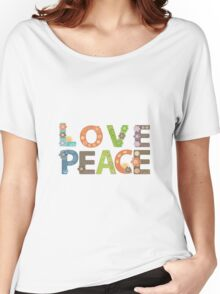 Love Peace Word Floral Pattern Illustration Women's Relaxed Fit T-Shirt