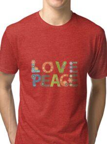 Love Peace Word Floral Pattern Illustration Tri-blend T-Shirt