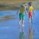 Children on the beach 5 by Susan Brown