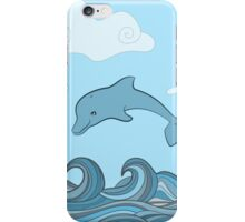 Dolphins in blue sea wave.  iPhone Case/Skin