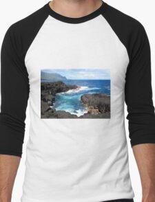 Blue Ocean Waters of Queens Bath on Kauai Hawaii Men's Baseball ¾ T-Shirt