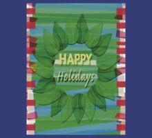 Happy Holidays Christmas Wreath by Ellen Turner